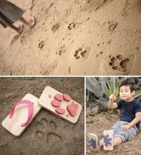 These animal footprint flip-flops are perfect for running around at the beach.